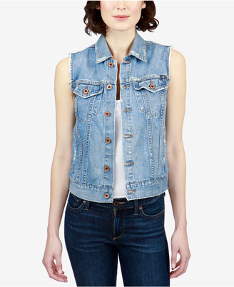 Lucky Brand Tomboy Trucker Cotton Denim Vest $89.50 thestylecure.com