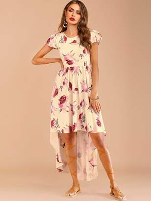 Shein Floral Print Petal Sleeve Dip Hem Dress
