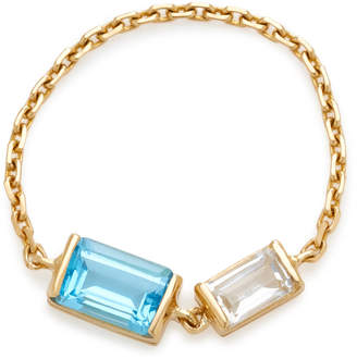 Yi Collection 18K Gold Topaz And Aquamarine Chain Ring