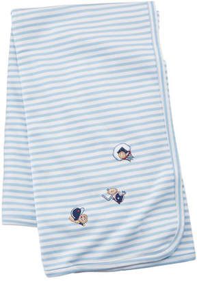 Kissy Kissy Fall Sports Striped Embroidered Pima Baby Blanket