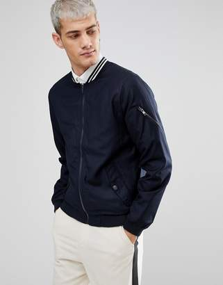 Casual Friday Bomber Jacket In Pinstripe