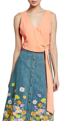 Alice + Olivia Azzie Asymmetric Sleeveless Wrap Crop Top