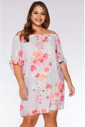 Quiz Curve Grey and Coral Floral Bardot Tunic Dress