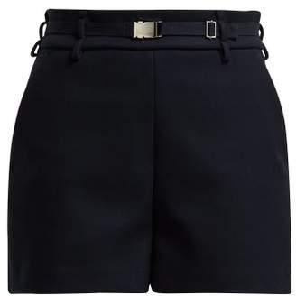 RED Valentino Belted Twill Shorts - Womens - Navy