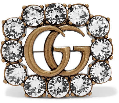 Gucci - Gold-tone Crystal Brooch