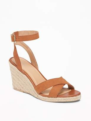 Old Navy Sueded Cross-Strap Espadrille Wedges for Women