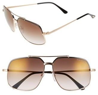 Women's Tom Ford 'Ronnie' 60Mm Aviator Sunglasses - Shiny Black/ Brown Mirror $415 thestylecure.com