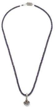 Sapphire Beaded Sacred Heart Necklace $440 thestylecure.com