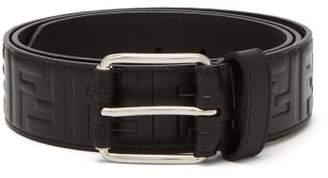 Fendi Logo Embossed Leather Belt - Mens - Black