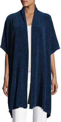 eskandar Short-Sleeve Chenille Shawl-Collar Cardigan