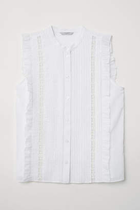 H&M Blouse with Pin-tucks - White