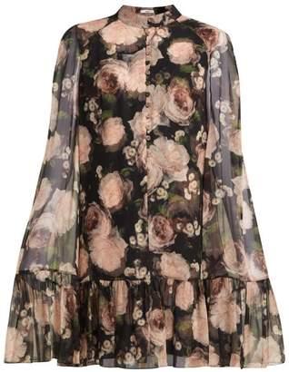 Erdem Constantine Dutch Petal Print Silk Dress - Womens - Black Multi