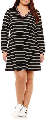 R & K Originals Long Sleeve Stripe Shift Dress - Plus