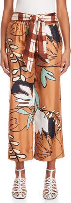 Alysi Printed Belted Silk Pants