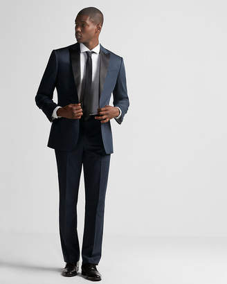 Express Classic Dark Blue Cotton Sateen Tuxedo Pant