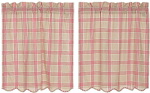 Rouge Elaine Scalloped Cotton Tier Curtain - Set of Two