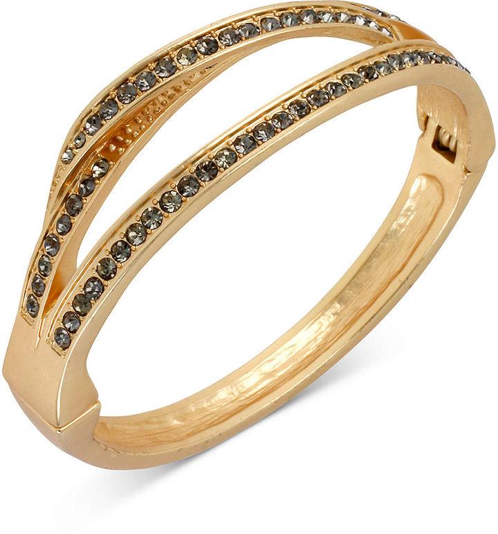 Kenneth Cole New York Bracelet, Gold-Tone Pave Sculptural Hinged Bangle Bracelet