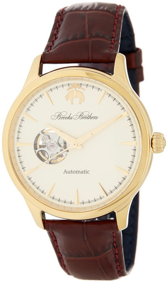 Brooks Brothers Brooks Brothers Men's Core Collection Open Heart Leather Strap Watch
