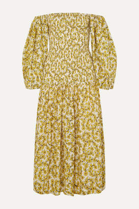 Rhode Resort Harper Smocked Floral-print Cotton-gauze Midi Dress - Yellow