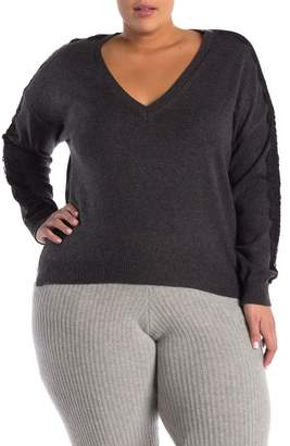 14th & Union Lace Applique V-Neck Sweater (Plus Size)