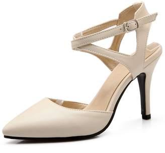 8e1f0c3a529 DecoStain Women s Summer Ankle Strap Slingback High Heels Sandals Work Pumps  Dress Shoes