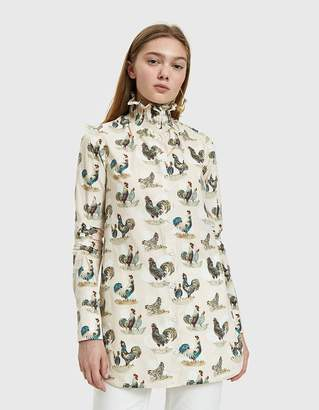 Carven Smocked Collar Rooster Print Top