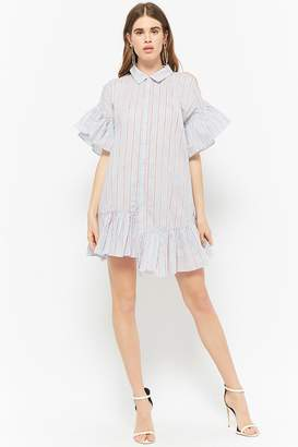 Forever 21 Striped Open-Shoulder Shirt Dress