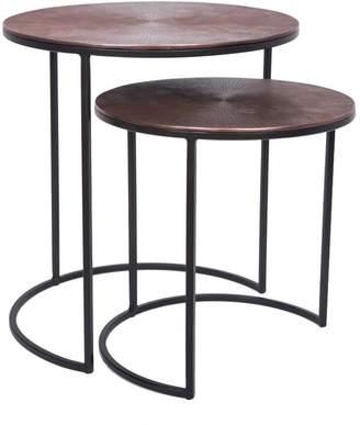 J & K Europe Imports Deco Set/2 Side Tables Antique Copper