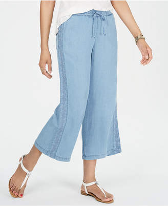 48f981edcb6 Style Co. Style   Co Petite Embroidered Chambray Cropped Pants