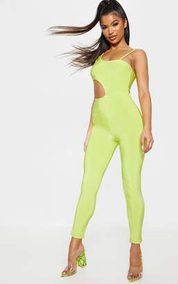 e7d3ae189d53 PrettyLittleThing Neon Lime Slinky Waist Cut Out Detail Jumpsuit