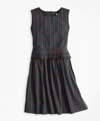 Brooks Brothers Girls Cotton Sleeveless Dot Dress