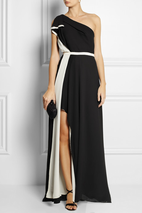 Halston One-shoulder satin gown