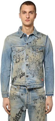 Off-White Off White Printed Slim Deconstructed Denim Jacket