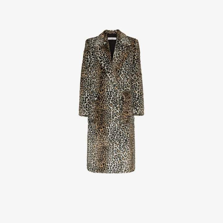 leopard print cotton-blend coat