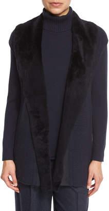 Lafayette 148 New York Long Cap-Sleeve Vest w/ Fur Collar, Ink, Plus Size