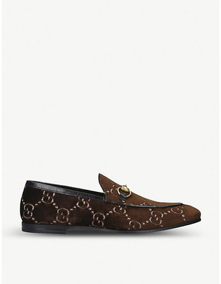 Gucci Jordan logo-embroidered velvet loafers