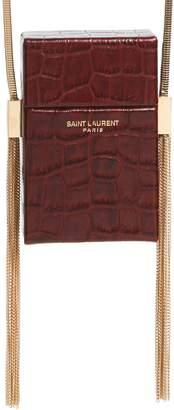 Saint Laurent Smoking Croc Embossed Leather Minaudiere