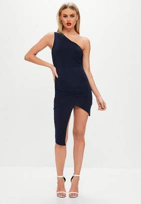 Missguided Navy One Shoulder Asymmetric Dress