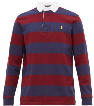 Polo Ralph Lauren Rugby Striped Cotton Polo Shirt - Mens - Red Navy