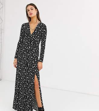 Asos Tall DESIGN Tall long sleeve button through maxi tea dress with splits in ditsy print