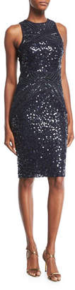 Rachel Gilbert Renee High-Neck Sleeveless Sequined Cocktail Dress