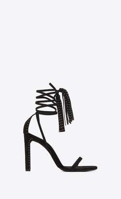 Saint Laurent Kate Studded Sandal In Suede With Tassel