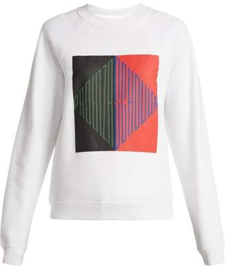Proenza Schouler Pswl - Logo Print Cotton Jersey Sweatshirt - Womens - White Multi