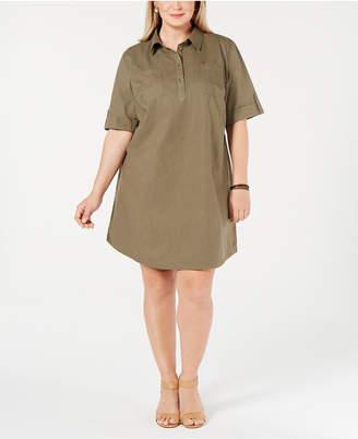 Karen Scott Plus Size Cotton Short-Sleeve Shirtdress