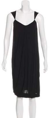 Donna Karan Satin-Trimmed Knee-Length Dress