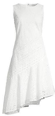 Donna Karan Women's Eyelet Asymetrical Sheath Dress