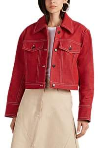 Colovos Women's Topstitched Denim Jacket - Red