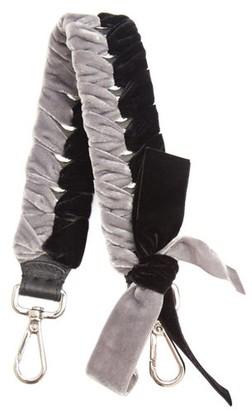 Fendi Strap You Whipstitched Ribbon Short Bag Strap - Womens - Black Grey