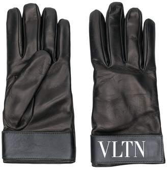 Valentino fur-lined logo gloves