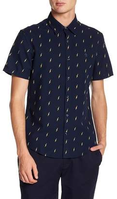 Original Penguin Short Sleeve Lightening Print Heritage Slim Fit Oxford Shirt
